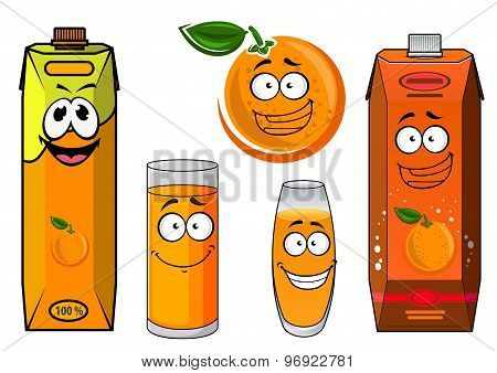 Cartoon orange juice packs with fruit