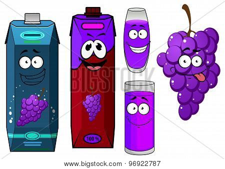 Cartoon grape bunch and juice packs