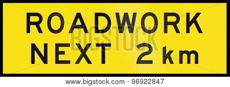 Roadwork Next 2 Km In Australia