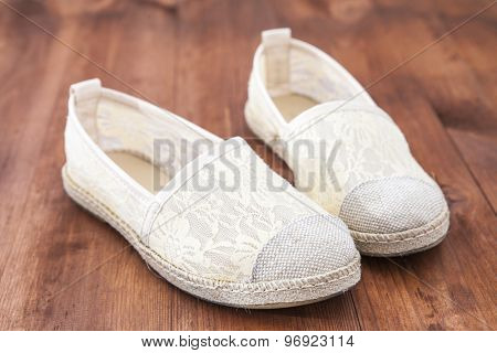 shoe on a wooden background