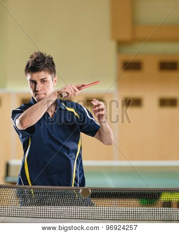 Table tennis action
