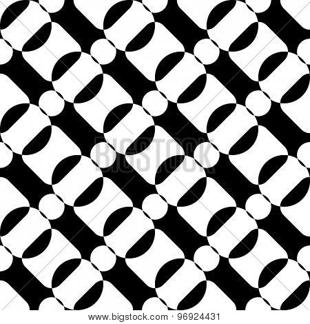 Seamless Diagonal Stripe and Circle Pattern. Vector Black and White Background