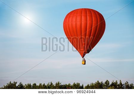 Red balloon in the blue sky wuth forest in the down