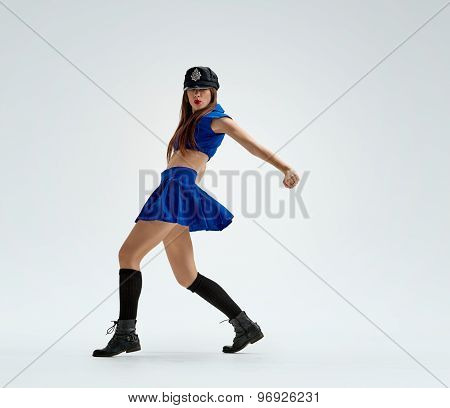 dance in police uniform
