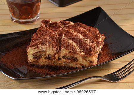 Tiramisu cake dessert dish.