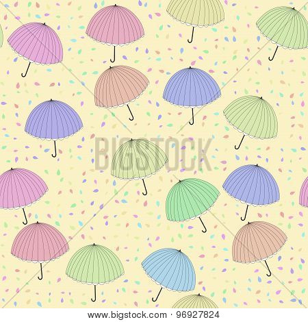 Decorated Background With Pastel Colored Umbrellas