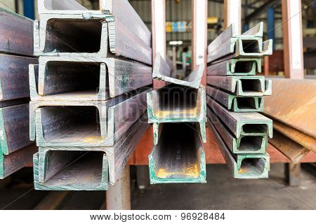 Close Up Heap Of U Shape Beam Steel