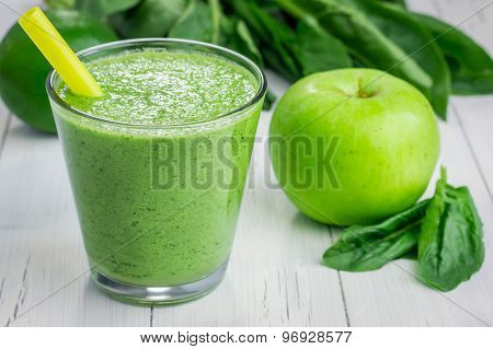 Healthy Smoothie With Green Apple, Spinach, Lime And Coconut Milk