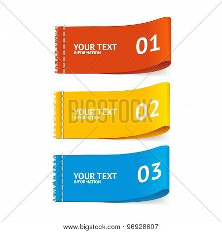 Vector fabric clothing labels option banner