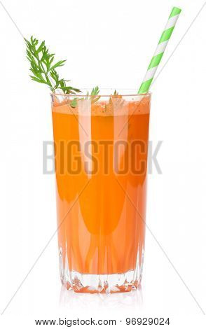 Fresh vegetable smoothie. Carrot juice. Isolated on white background