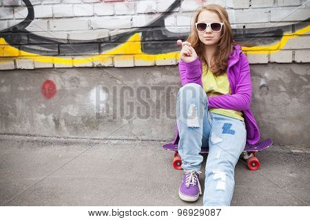 Blond Teenage Girl With Lollipop, Urban Portrait