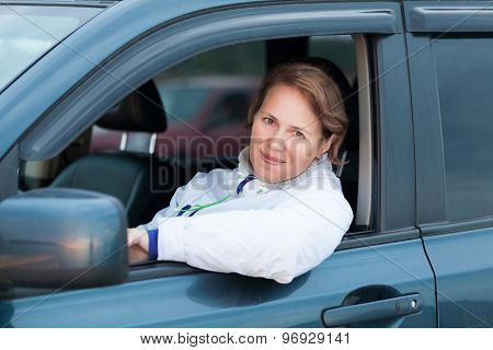 Young Caucasian Woman As A Driver, Outdoor Portrait