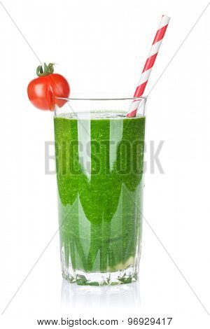 Fresh vegetable green smoothie. Isolated on white background