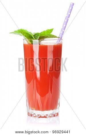 Fresh vegetable smoothie. Tomato juice. Isolated on white background