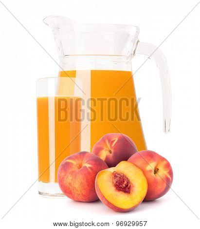 Peach fruit juice in glass jug isolated on white background cutout