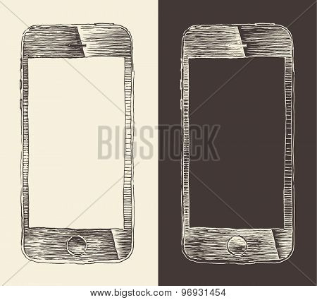 Smart Phone smartphone mobile tablet engraved style hand drawn sketch