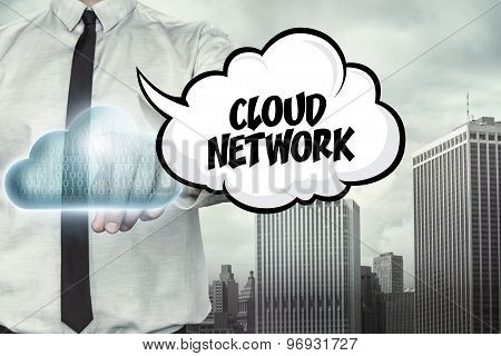 Cloud network text on cloud computing theme with businessman