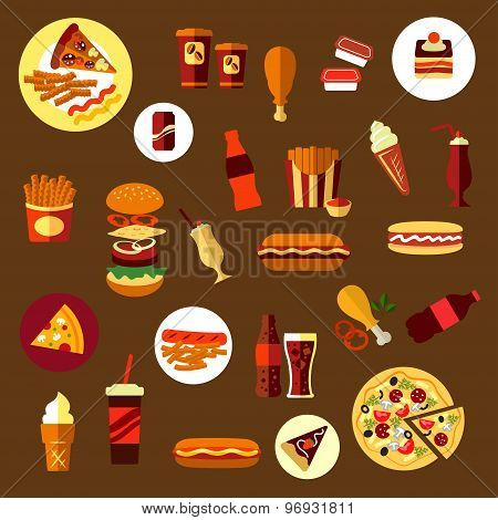 Fast food and takeaway drinks icons