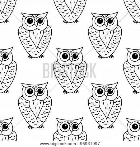 Horned owl seamless background pattern