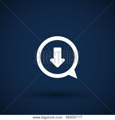 Arrow down bottom sign pictogram Vector symbol icon