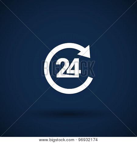 TWENTY FOUR Hr service sign vector business glossy symbol