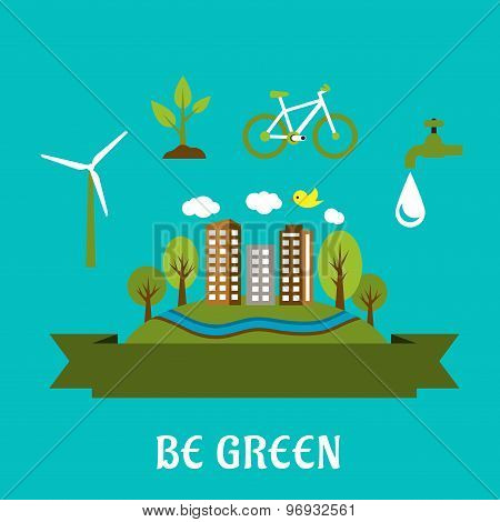 Green eco city flat design