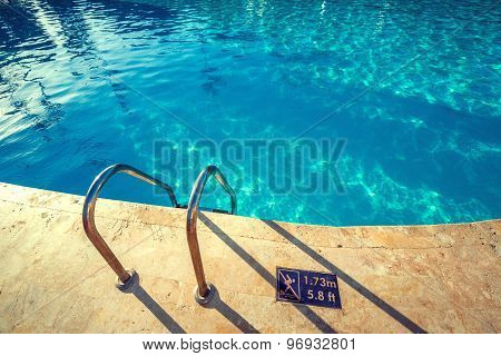 Swimming Pool With Stair And Clear Water