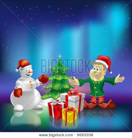 Christmas Tree Wiyh Gifts On Aurora Borealis Background