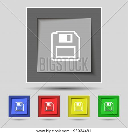 Floppy Disk Icon Sign On Original Five Colored Buttons. Vector