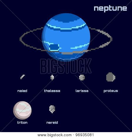 Retro minimalistic set of Neptune and moons