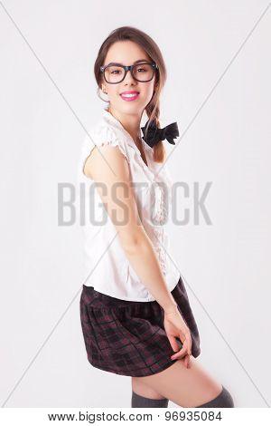 Portrait Of Beautiful Brunette Woman In Glasses