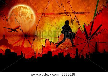 Full moon against stocks and shares