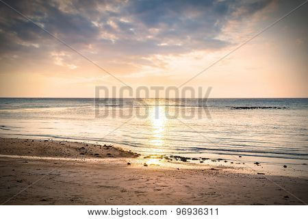 Beautiful view of sunset on the beach.