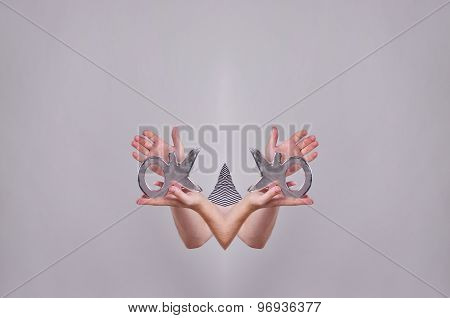 Hands showing ok sign. Ok letters in hands