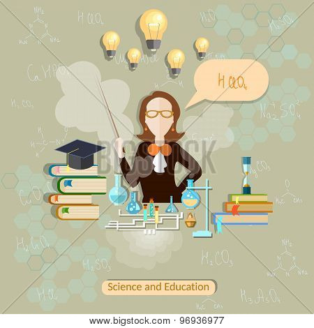 Science And Education, Chemistry Teacher, Woman Scientist, School, University, College, Experiment