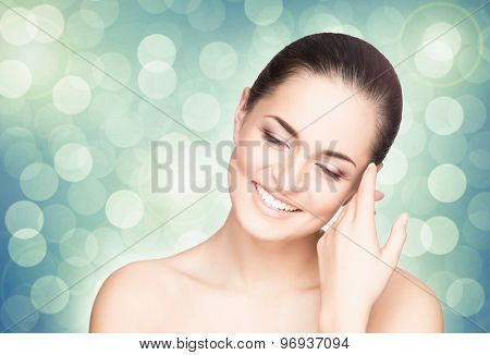 Portrait of young, beautiful and healthy girl. Perfect skin spring concept.