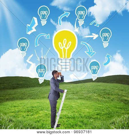 Businessman standing on ladder looking against blue sky over green field