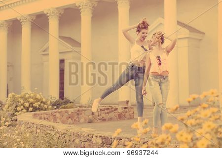 Best Girlfriends Are Walking And Laughing. Hipster.