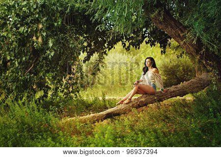 Boho Girl Sitting On Fallen Tree In Forest.