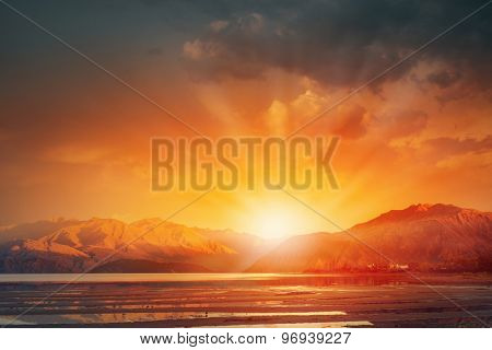 Natural landscape and sun rising at skyline