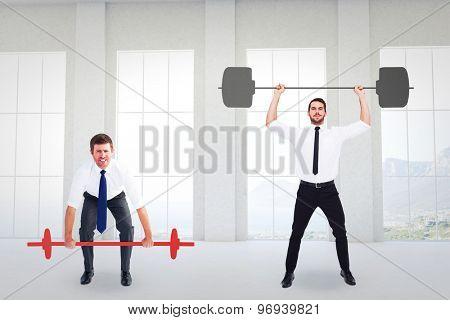 Businessmen lifting barbells against room overlooking ocean