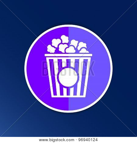 Popcorn design on blue background,clean vector logo