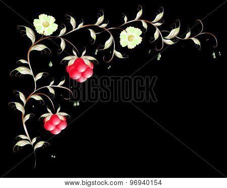 Pattern of beautiful raspberry and flovers. EPS10 vector illustration