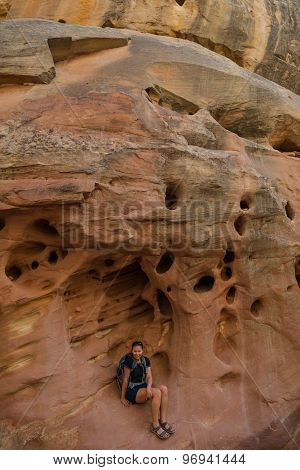 Girl Hiker Inside A Pocket Carved By Water And Erosion Grand Wash