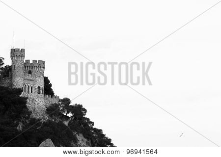 Mountain part of castle in Spain Catalonia