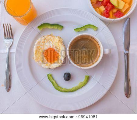 Happy Face Frying Eggs Breakfast