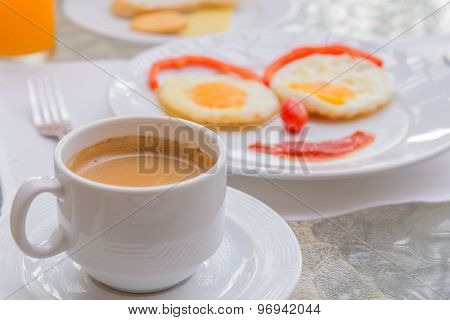Hot Coffee With Happy Face Frying Eggs Breakfast