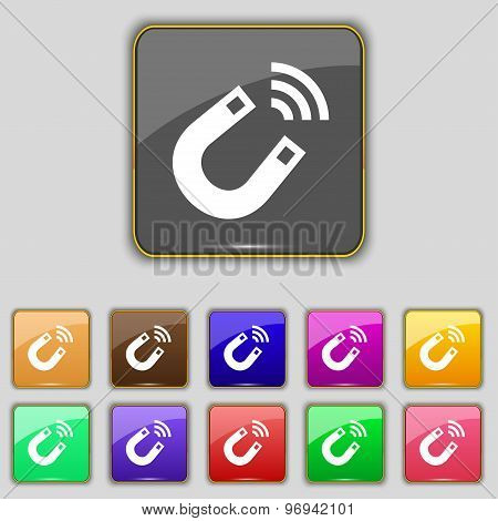 Magnet Icon Sign. Set With Eleven Colored Buttons For Your Site. Vector