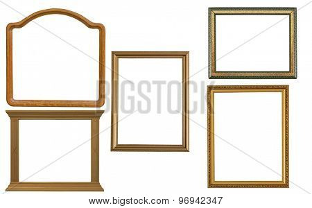 five frames isolated on white background