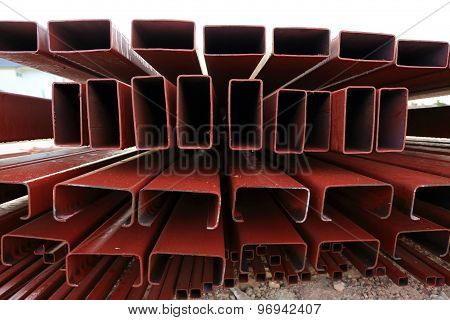 Pile Of Steel Beam In Building Construction Site